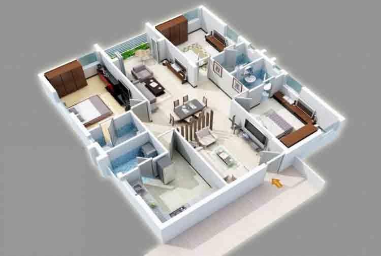 denah rumah 3 kamar sederhana