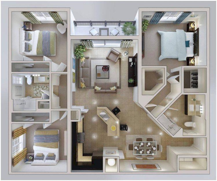 √ 30 Denah Rumah Minimalis 3 Kamar Tidur Desain 1 Lantai