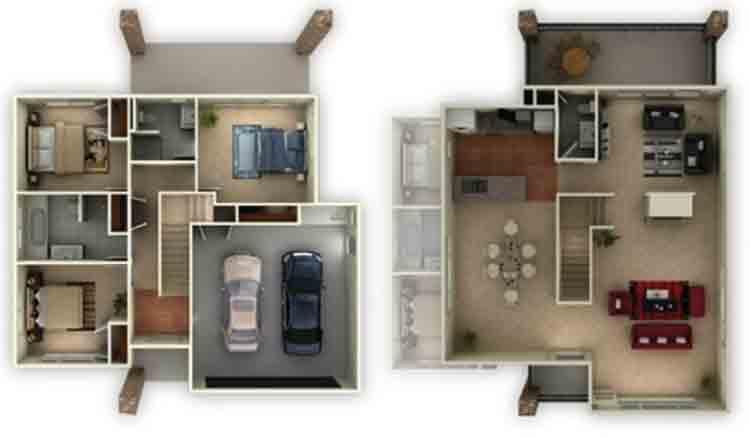 18 Gambar Denah Rumah Type 36 1 & 2 Lantai | Terbaru 2020