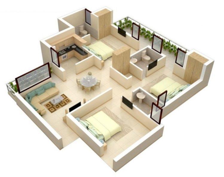 denah rumah type 36 kamar 2